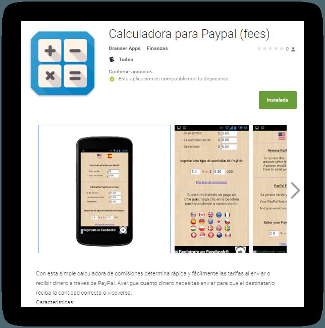 Calculadora para PayPal Android
