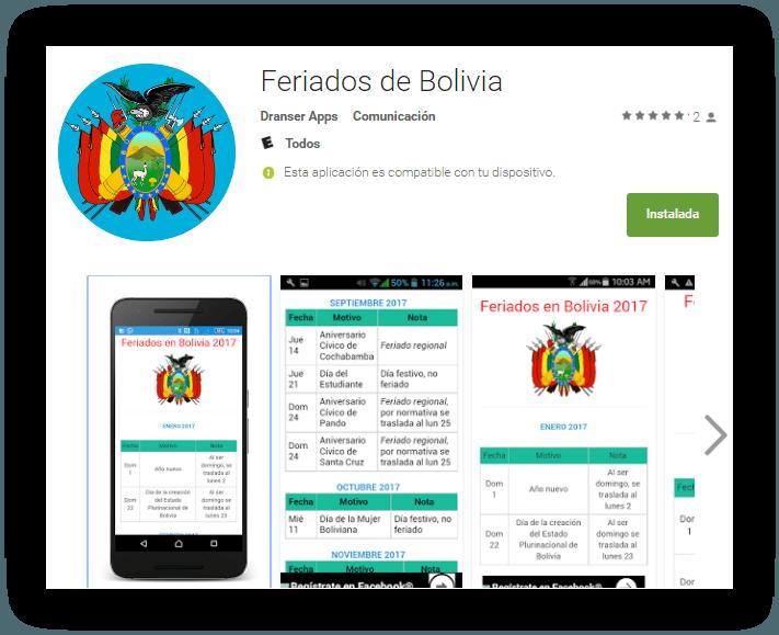 Feriados y días festivos en Bolivia Android